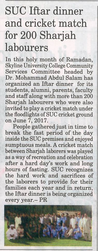 SUC in Media - Gulf Today