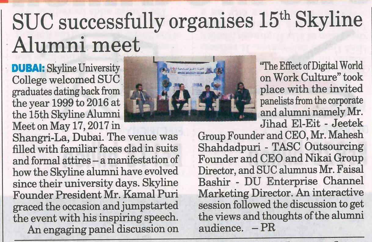 SUC in Media - Gulf Today.